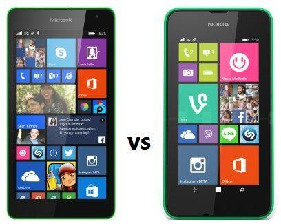 Lumia 530 and 535 comparison