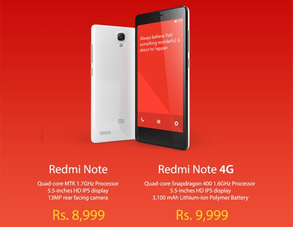 Redmi note and note 4G
