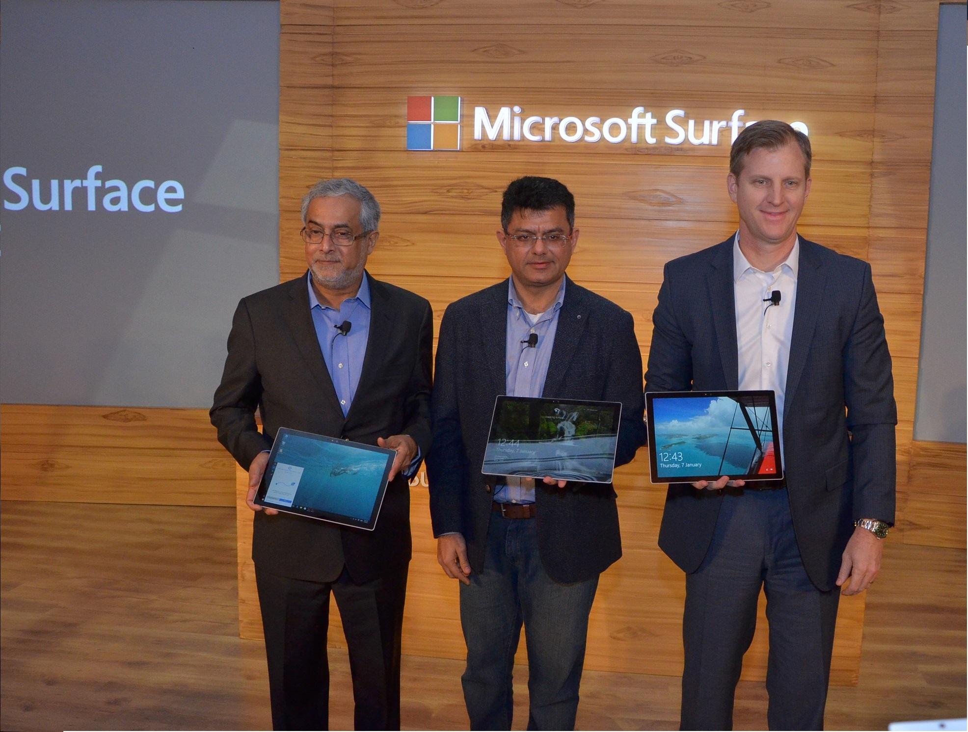 Bhaskar Pramanik, Chairman Microsoft India launching the Surface Pro 4 -...