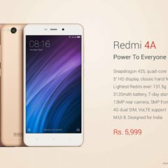 Xiaomi Redmi 4A launched in India at Rs. 5999 with VoLTE, Snapdragon 425 and 2GB RAM
